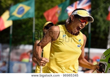MOSCOW, RUSSIA - JULY 17, 2015: Samantha Barijan of Brazil in the quarterfinal match of the Beach Tennis World Team Championship against France. Brazil won the match