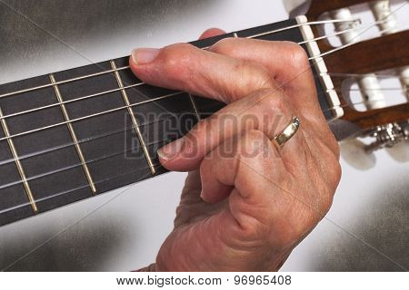 Old Hand And Guitar Isolated