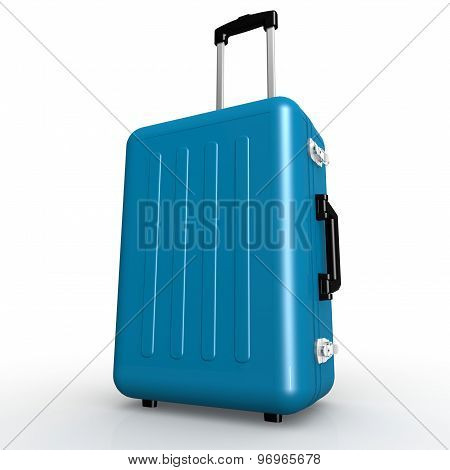 Blue Luggage Stands On The Floor