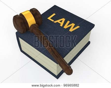 3d law book and gavel