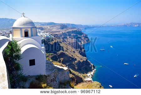 Church on seaside in Santorini