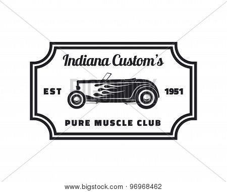 Vintage hot rod emblem.