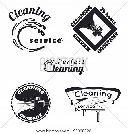 Vintage cleaning service emblems