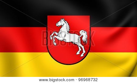 Flag Of Lower Saxony, Germany.