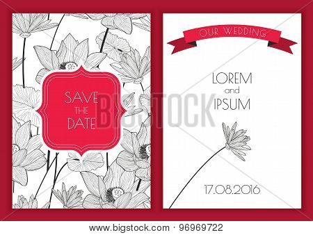 Set Of Vector Floral Save The Date Greeting Card. Hand Drawn Lotus Flower Seamless Pattern Backgroun