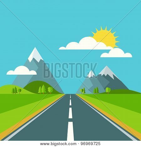 Vector Summer Or Spring Landscape Background. Road In Green Valley, Mountains, Hills, Clouds And Sun