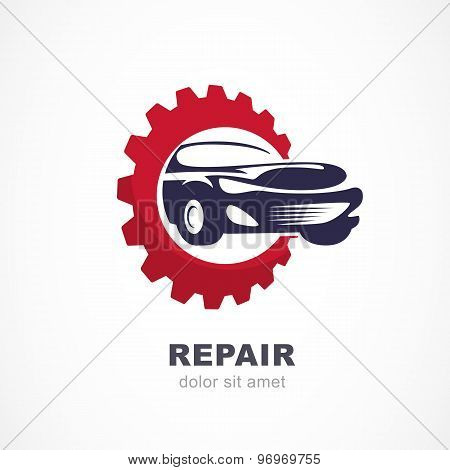 Vector Flat Illustration Of Sport Car In Gears Cogs. Abstract Logo Design Template. Concept For Auto