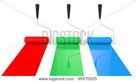3d red green and blue paint rollers