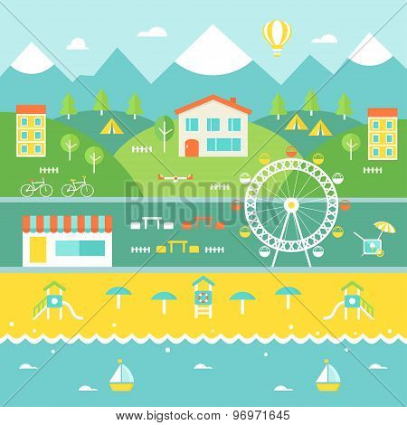 Resort Town Landscape. Mountains, Houses, Trees, Cafe, Beach, Ocean