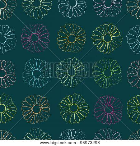 Seamless color camomiles contours