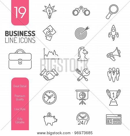 Business Strategy Thin Lines Web Icon Set