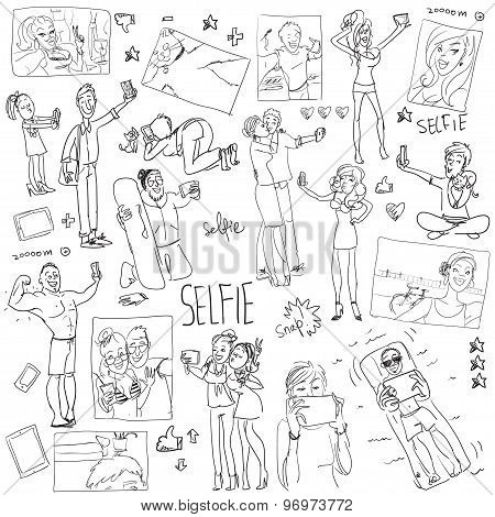 People taking a selfie. Cartoon doodles