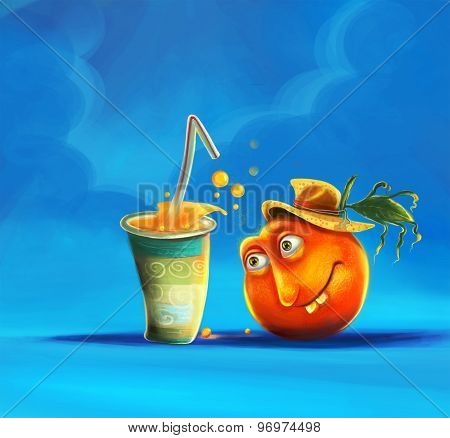 cartoon orange and orange juice