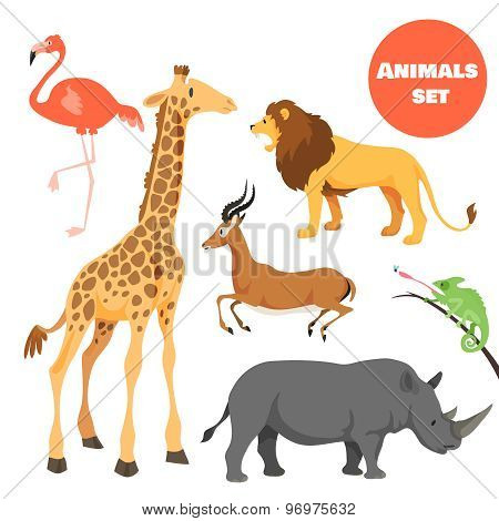 Cute african animals set for kids in cartoon style. Suitable for logotype or emblem.