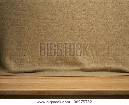 Wood table with brown sackcloth