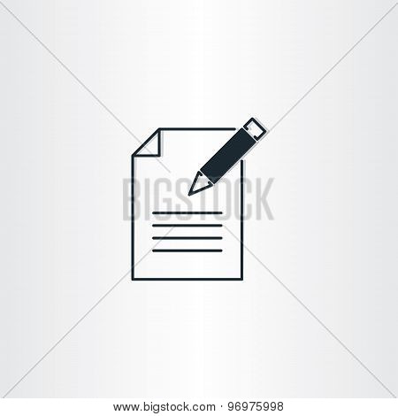 Writing Icon Paper Notebook And Pen Symbol