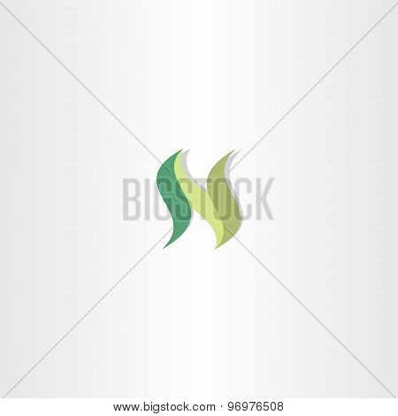 Green Vector Letter N Logo Icon Element