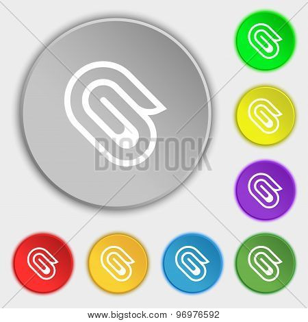 Paper Clip Icon Sign. Symbol On Eight Flat Buttons. Vector