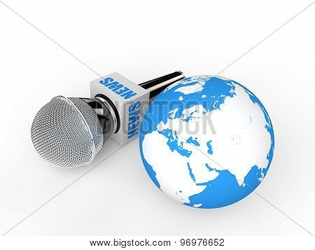 3d microphone and earth globe
