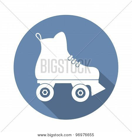 Roller Skate Icon With A Long Shadow On White