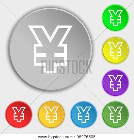 Yen Jpy Icon Sign. Symbol On Eight Flat Buttons. Vector