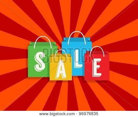 Sale discount with shopping bags. Vector illustration.