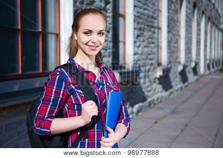 Smiling Teenage Student Girl With Backpack