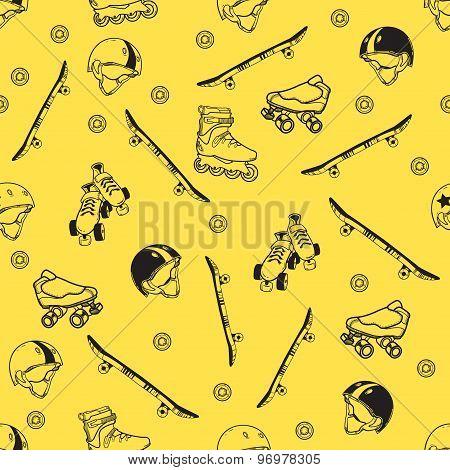 roller skate seamless pattern
