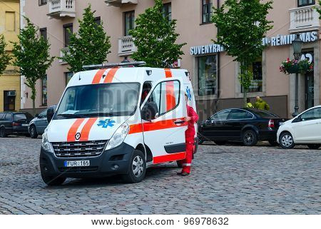 Ambulance Car On The Street Of Klaipeda, Lithuania