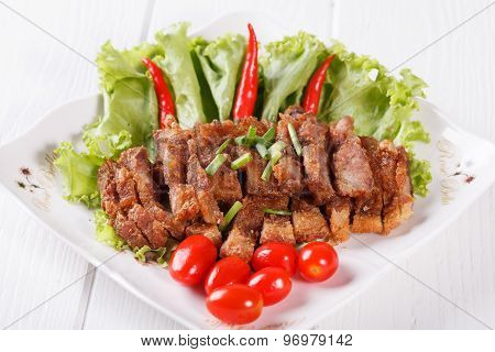 streaky pork fried with spicy dipping sauce, Thai food