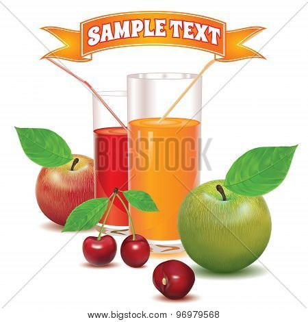 two glasses for juice from ripe red berries cherries and apples red and green colors with leaves