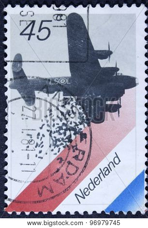 Food from a british bomber plane on a postage stamp