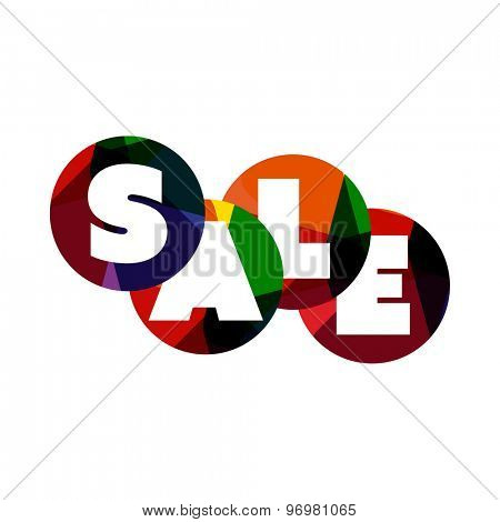 Sale word label banner, letters on circle shapes. Web icon, button or message for web site design, presentation and/or application