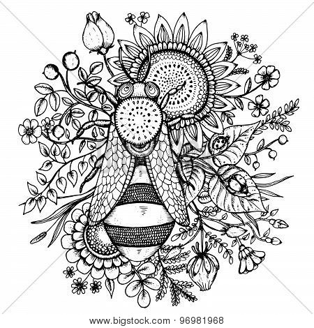 Beautiful Vector Illustration With Bee, Flowers And Berries