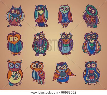 Vector Collection Of Cute Colorful Owls