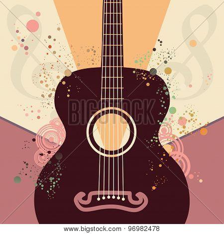 Retro Guitar Poster