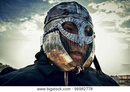 The knight in helmet