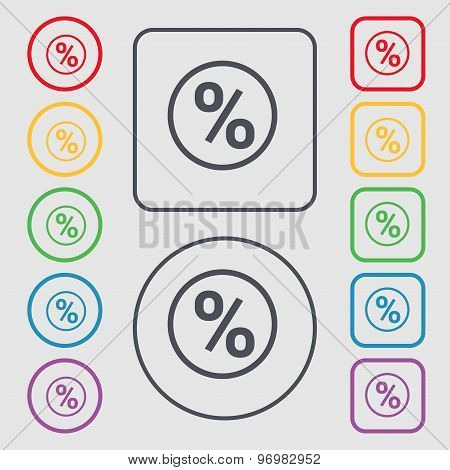 Percentage Discount Icon Sign. Symbol On The Round And Square Buttons With Frame. Vector