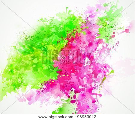 Bright watercolor stains with pink and green blots