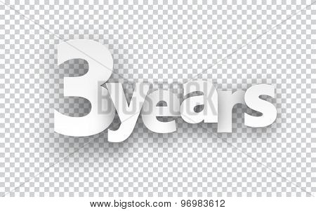 Three years paper sign over cells. Vector illustration.