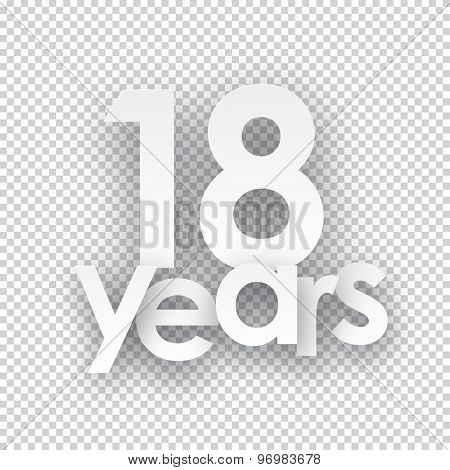 Eighteen years paper sign over cells. Vector illustration.