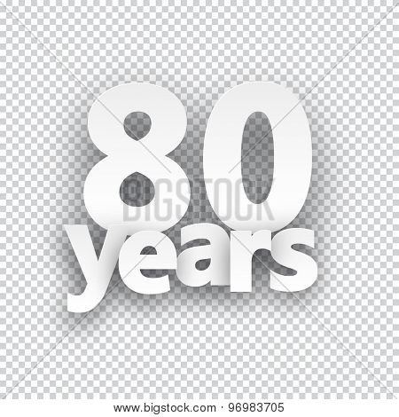 Eighty years paper sign over cells. Vector illustration.