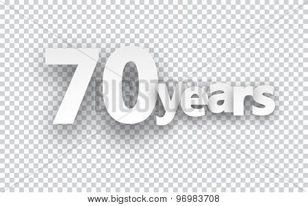 Seventy years paper sign over cells. Vector illustration.