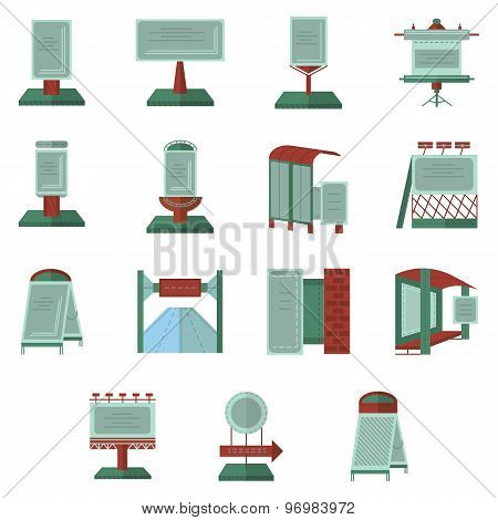 Advertisement flat color vector icons