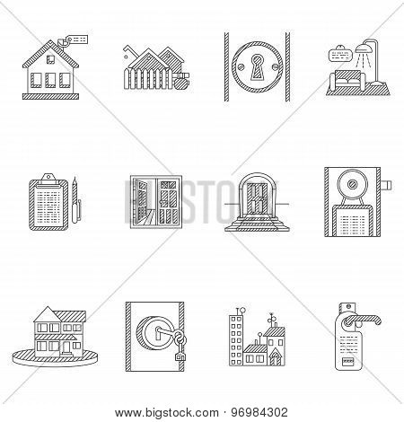Black outline vector icons for rent real estate