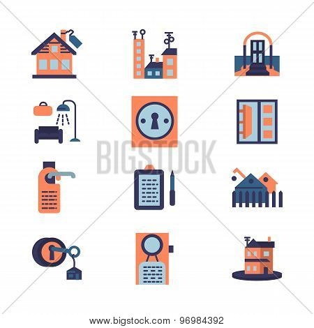 Rent of residential property flat vector icons