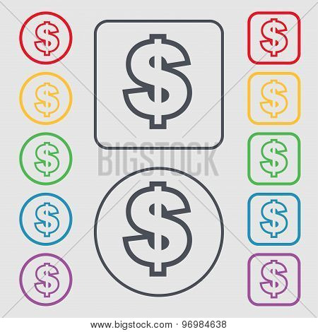 Dollar Icon Sign. Symbol On The Round And Square Buttons With Frame. Vector
