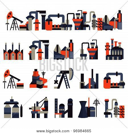 Plants and factories flat color vector icons