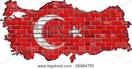 Turkey Map On A Brick Wall