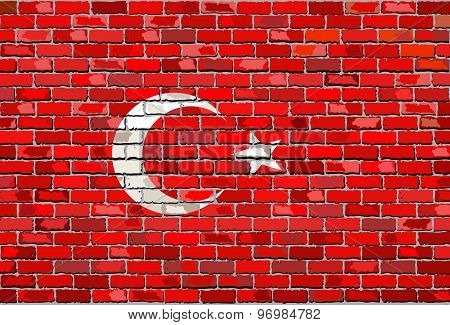 Grunge Flag Of Turkey On A Brick Wall